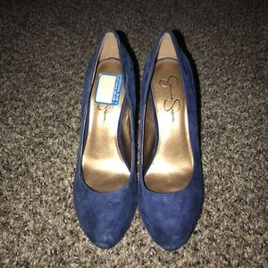 Faux blue suede pumps